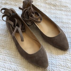 Vince Camuto Lace Up Leg Brown Tan Flat